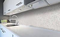 Кухонный фартук Нежный Узор (виниловая наклейка для кухни ПВХ пленка скинали) растительный орнамент Серый 600*2500 мм