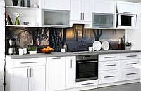 Кухонный фартук Туманный Лес 3Д (виниловая наклейка для кухни ПВХ пленка скинали) деревья Природа Серый 600*2500 мм