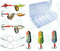 Набір Приманок Три коливалки + Три оберталки +коробка Aquatech + Два повідки Kalipso