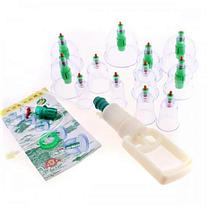 Вакуумные массажные антицеллюлитные банки с насосом для домашней терапии Pull Out a Vacuum Apparatus 24 шт, фото 3