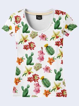 Женская футболка с принтом Цветы и кактусы