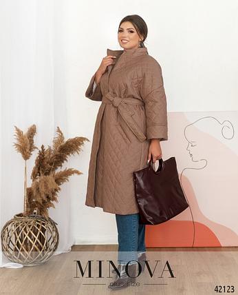 Тёплая простёганная куртка батал с подкладкой Размеры: 50.52.60-62., фото 2