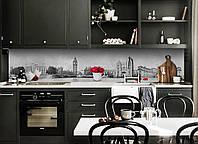 Кухонный фартук Лондон 3Д (виниловая наклейка для кухни ПВХ пленка скинали) старый Город Серый 600*2500 мм