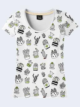 Женская белая футболка с рисунком Кактусы