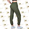 Спортивні об'ємні жіночі штанці з трикотажу колір хакі, фото 2