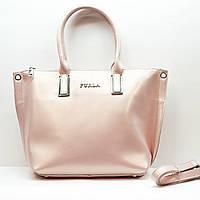Женская  розовая сумочка из натуральной кожи большая повседневная, фото 1