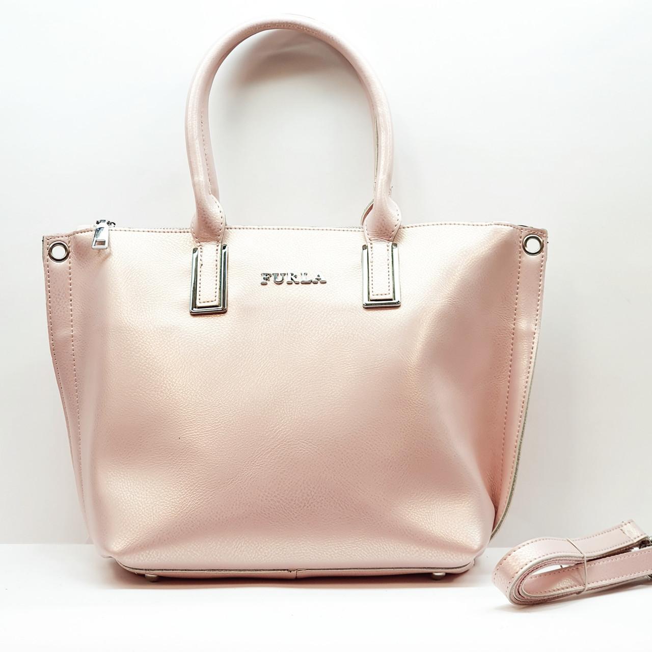 Женская  розовая сумочка из натуральной кожи большая повседневная