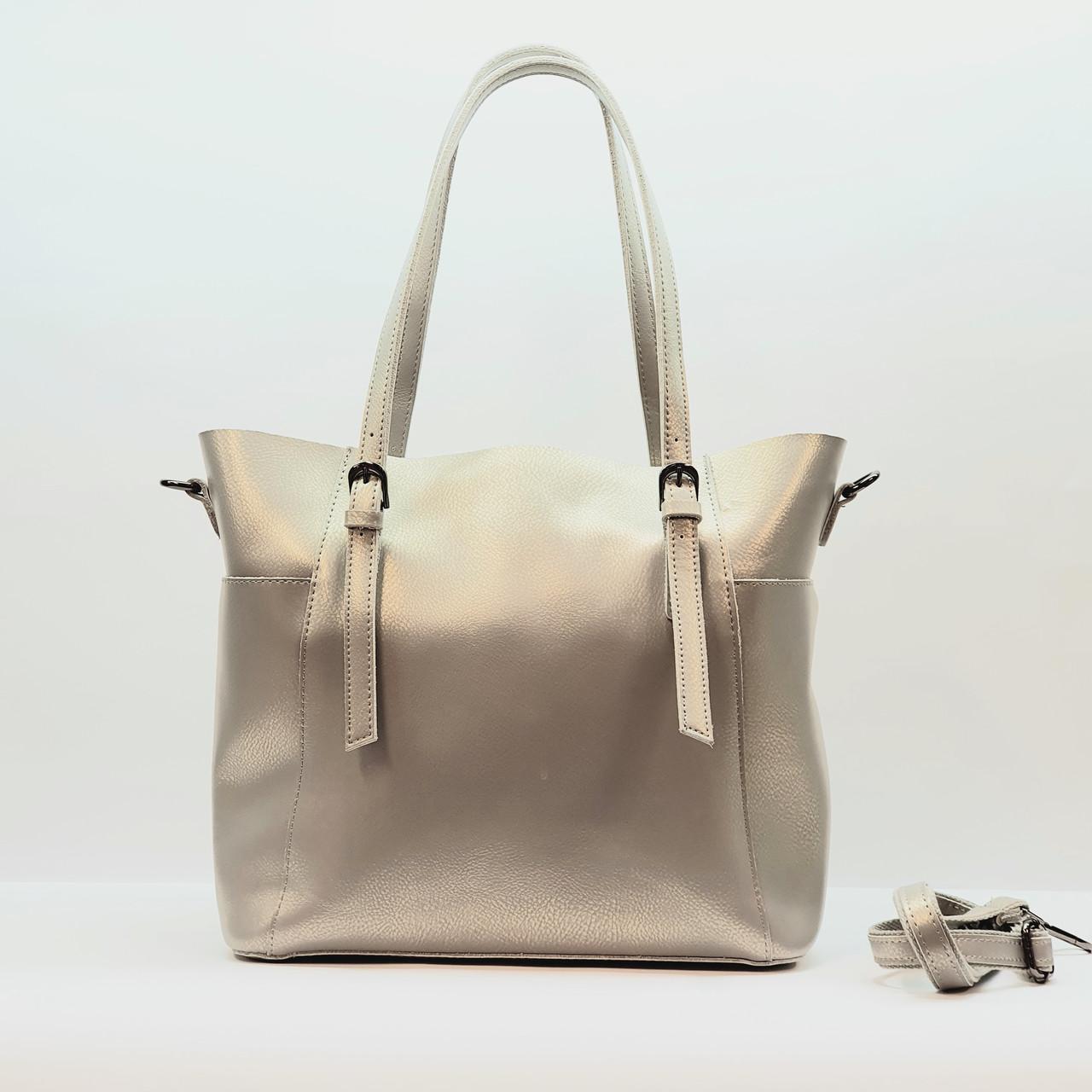 Женская  серебристая сумочка из натуральной кожи большая повседневная