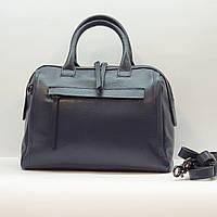 Женская синяя сумочка из натуральной кожи среднего размера повседневная, фото 1
