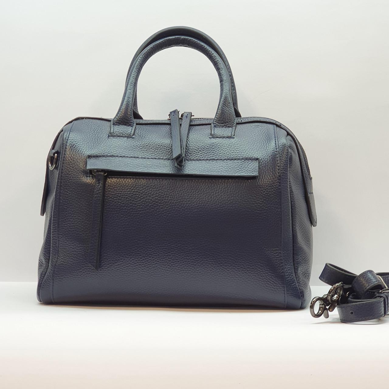 Женская синяя сумочка из натуральной кожи среднего размера повседневная