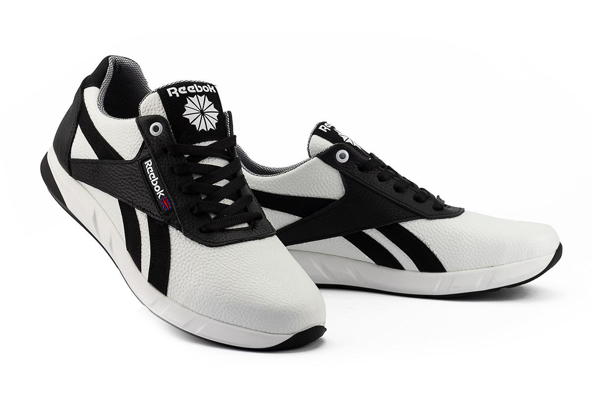 Мужские кроссовки кожаные весна/осень белые-черные CrosSAV 90 Exofit Lo Clean