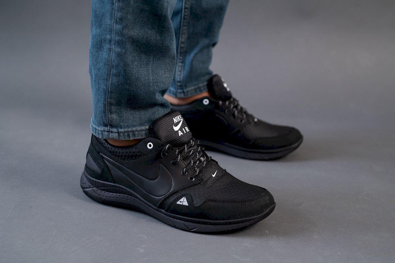 Мужские кроссовки кожаные весна/осень черные ZNIK N1