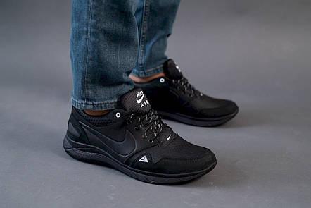 Мужские кроссовки кожаные весна/осень черные ZNIK N1, фото 2