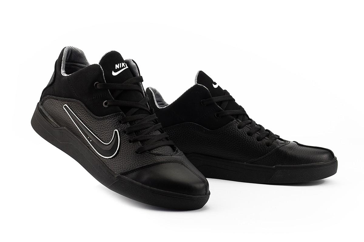 Мужские кроссовки кожаные весна/осень черные-черные CrosSav 310