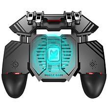 Беспроводной геймпад триггер для смартфонов Union PUBG Mobile AK77 с вентилятором и аккумулятором на 4000 mAh Черный (039)
