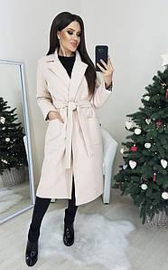 Женское кашемировое пальто под пояс с капюшоном и карманами  С, М, Л