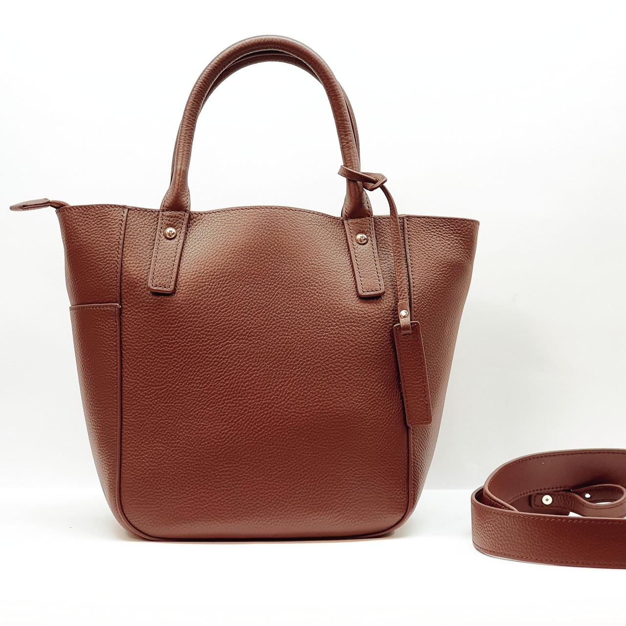 Женская красная сумочка из натуральной кожи средняя повседневная