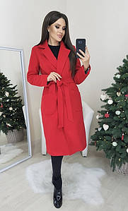 Женское кашемировое пальто под пояс с карманами  С, М, Л
