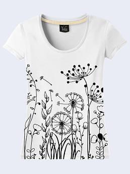 Женская белая футболка с принтом Одуванчики