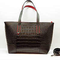 Женская черная сумка из натуральной кожи большая повседневная, фото 1