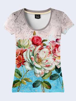 Женская футболка с принтом Красивые цветы