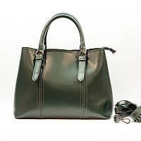 Жіноча зелена жіноча сумка з натуральної шкіри велика повсякденна, фото 1