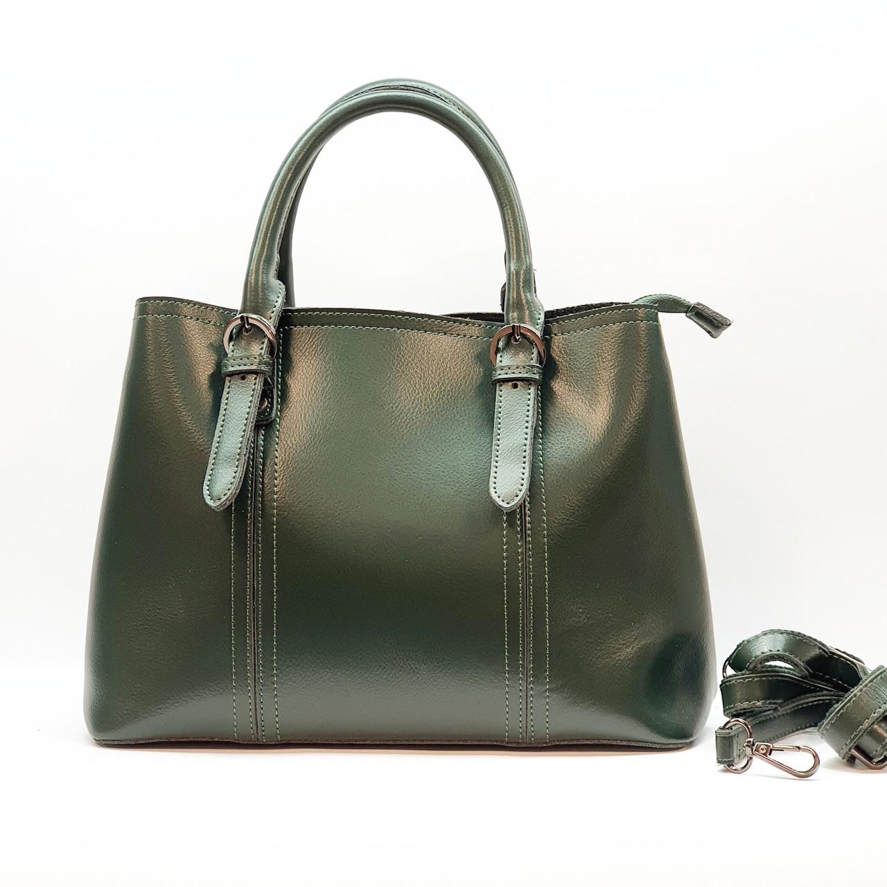Жіноча зелена жіноча сумка з натуральної шкіри велика повсякденна