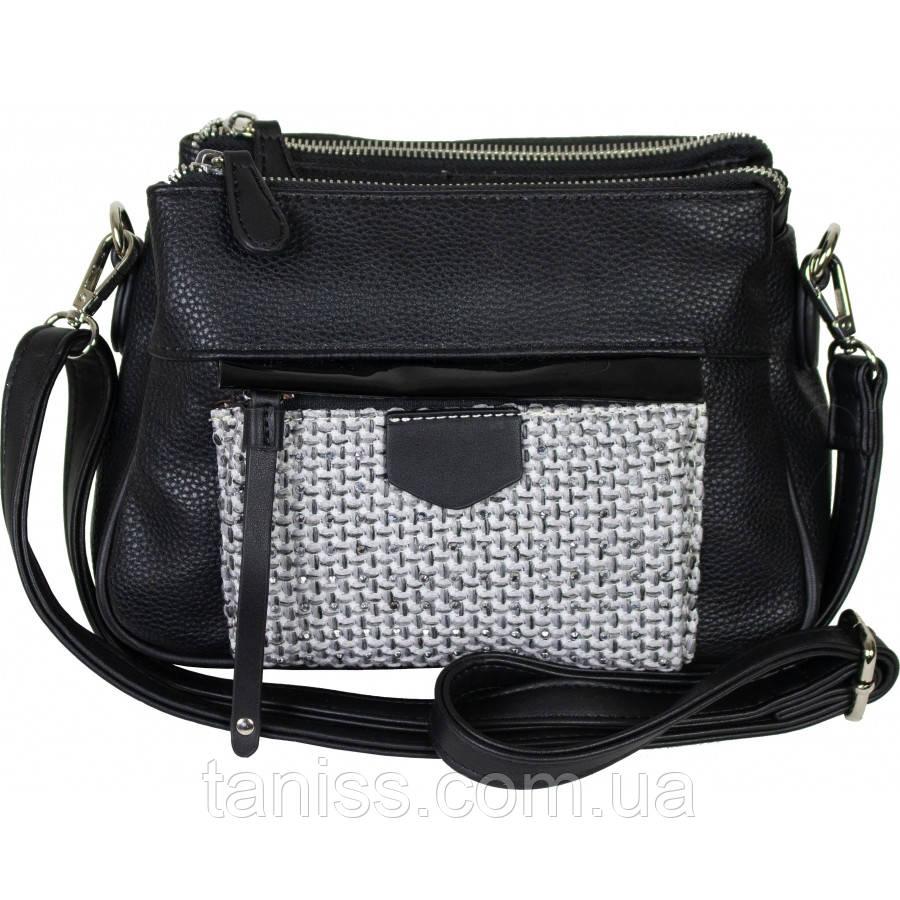 Стильная сумка женская , материал - экокожа , 1 длинная ручка,3 отделения( 62931  ) черный