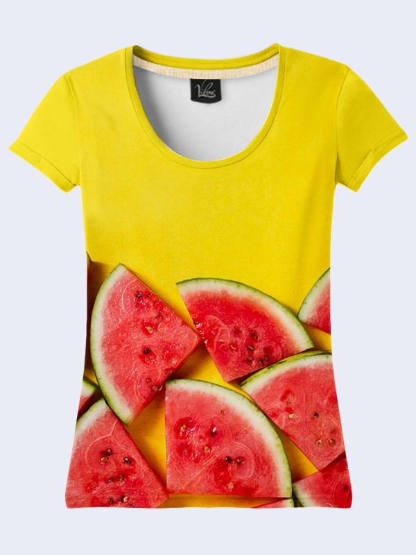 Женская желтая футболка с принтом Арбуз