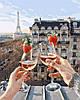 Картина по номерам Бокалы Парижа, размер 40*50 см, зарисовка полная