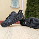 Чоловічі кросівки Nike Air Force 1 LV8 чорні з помаранчевим, фото 3