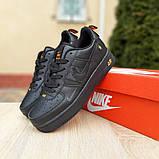 Чоловічі кросівки Nike Air Force 1 LV8 чорні з помаранчевим, фото 6