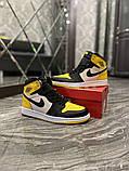 Чоловічі кросівки Nike Air Jordan 1 Mid Yellow Black, фото 3