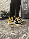 Чоловічі кросівки Nike Air Jordan 1 Mid Yellow Black, фото 4