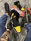 Чоловічі кросівки Nike Air Jordan 1 Mid Yellow Black, фото 7