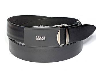 Ремень мужской кожаный TOMMY HILFIGER 3,5 см с пряжкой автомат, ремень ТОММИ ХИЛФИГЕР (реплика)
