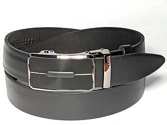 Ремень мужской кожаный 3,5 см с пряжкой автомат, стильный брючный ремень из натуральной кожи. ЧЕРНЫЙ