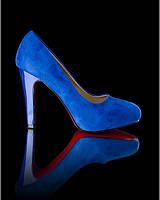 Синие туфли на каблуке, фото 1