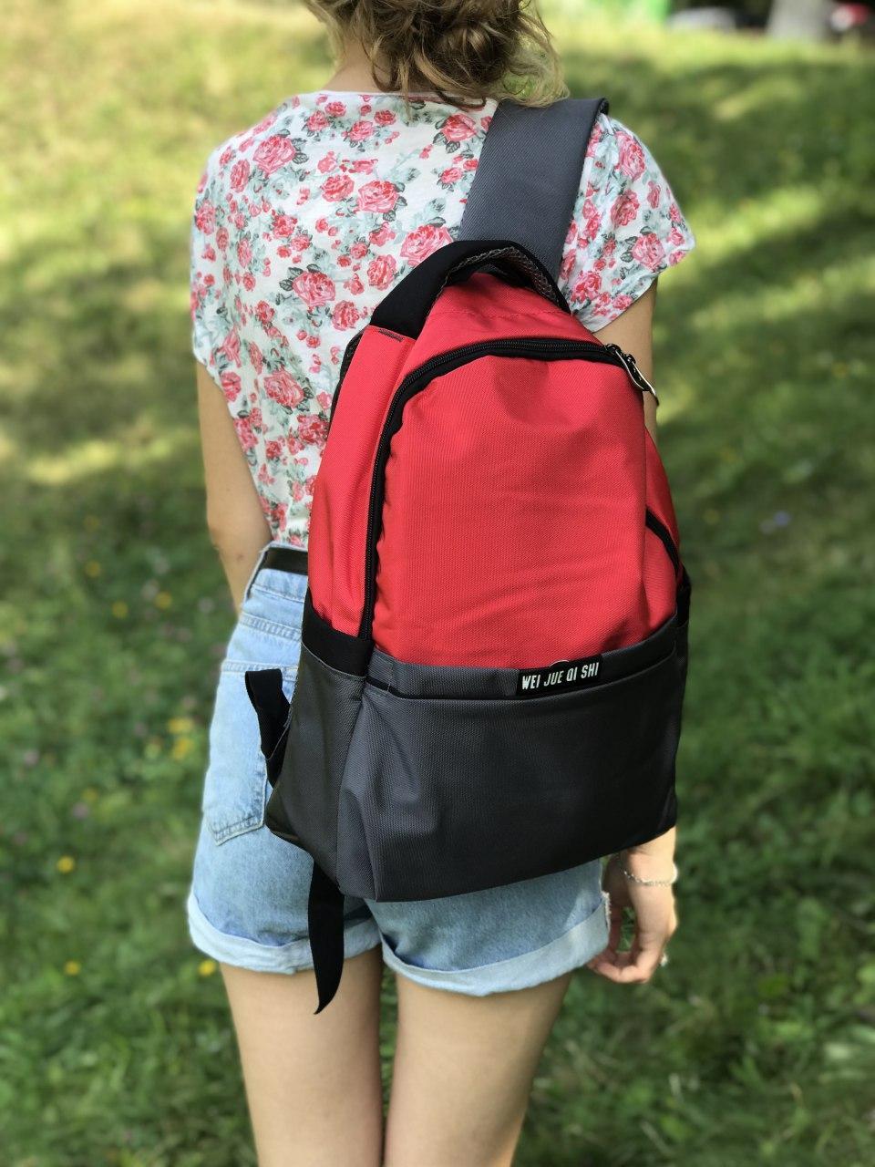 Жіночий рюкзак міський сірий з червоним