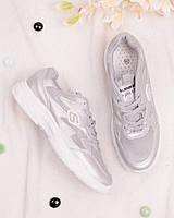 Серебристые кроссовки на шнуровке, фото 1