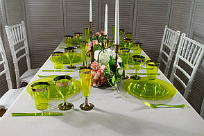Набір посуду склопластик Capital For People зелений з золотом 84 предмета (DD-33)