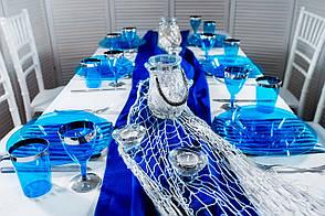 Набір посуду склопластик Capital For People синій з сріблом 90 предметів (DD-35)