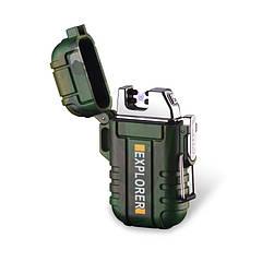 Водонепроницаемая электроимпульсная USB-зажигалка Sundy Зеленая (028)