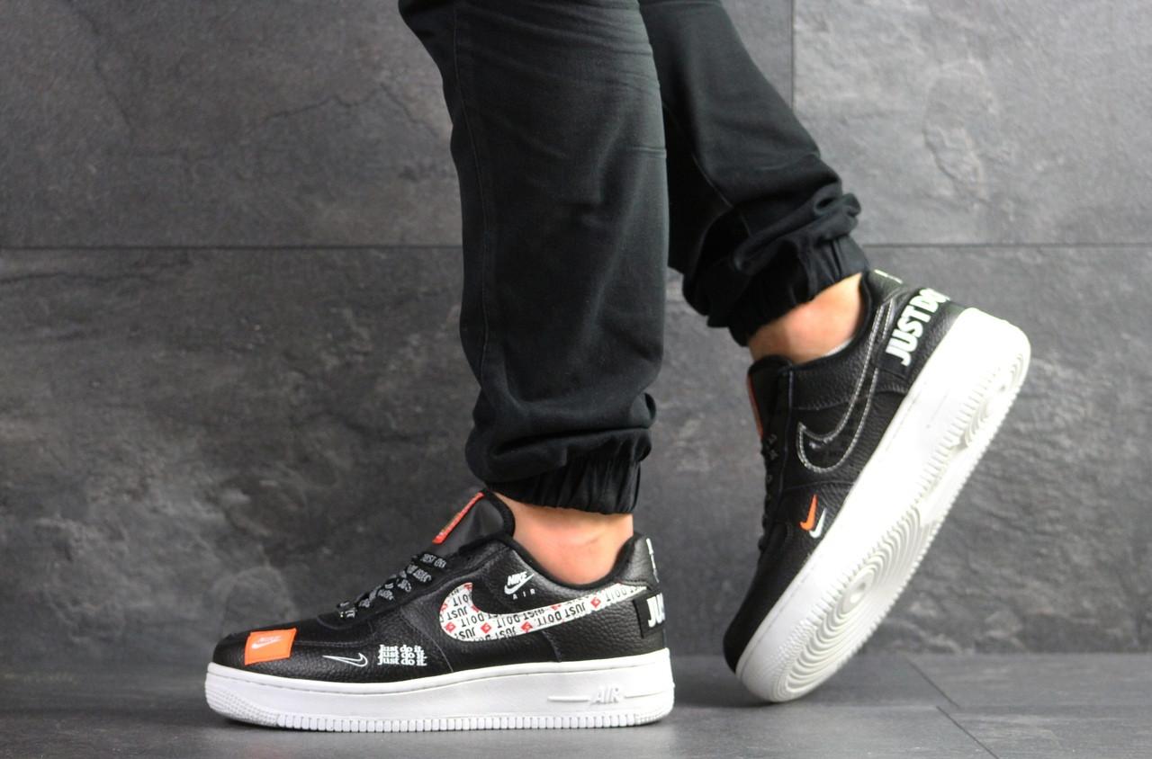 Чоловічі кросівки Nike Air Force 1 Just Do It чорні з білим