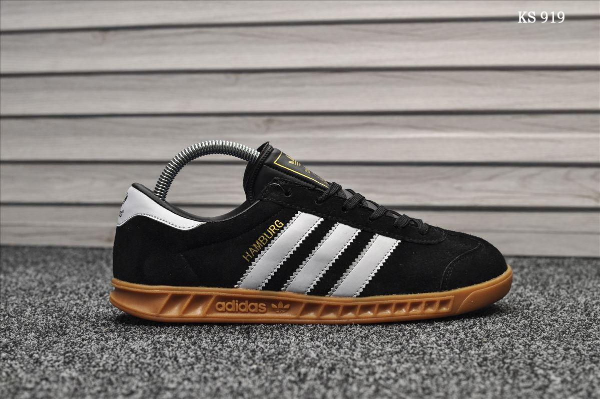 Мужские кроссовки Adidas Hamburg (черно/белые)