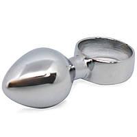 Анальная пробка металлическая. Анальный плаг, втулка для анала из металла с кольцом. Диаметр 20 мм