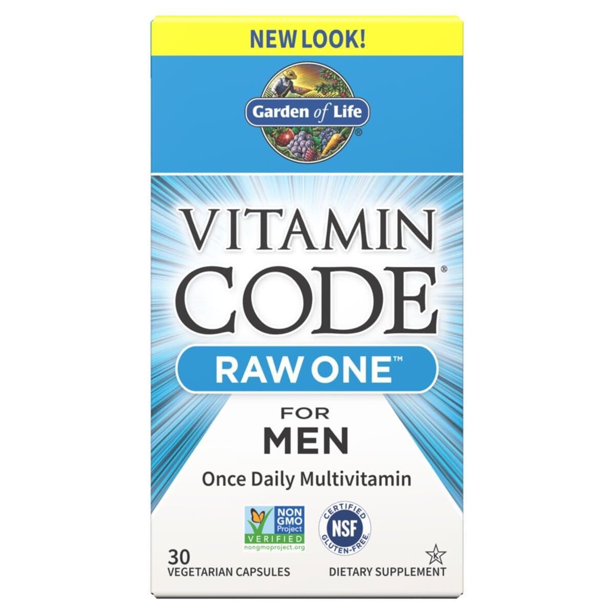 Сырые Мультивитамины для Мужчин, Raw  One for Men, Vitamin Code, Garden of Life, 30 вегетарианских капсул