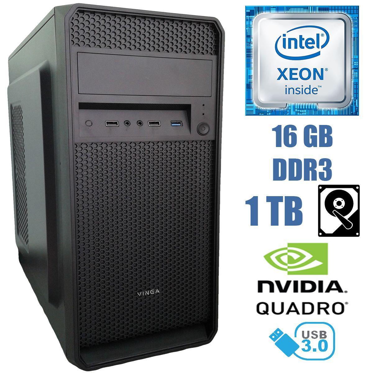 Металический MiDiTower / Intel Xeon E5-2667 (6 (12) ядер по 2.9-3.5GHz) / 16 GB DDR3 / 1TB HDD / nVidia Quadro K2000 2GB / 800W