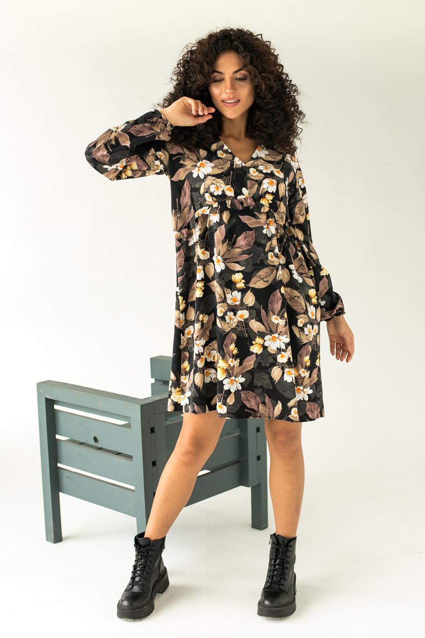 Ніжне плаття в великий квітковий принт LUREX - чорний колір, L (є розміри)