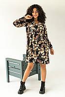 Ніжне плаття в великий квітковий принт LUREX - чорний колір, L (є розміри), фото 1